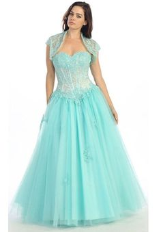9b3291dcef Corset Bodice Strapless A Line Aqua Long Ball Gown