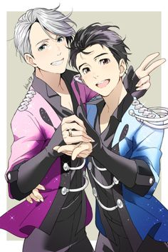 Yuri on ice!- Victor Nikiforov and Yuri Katsuki / Victuri! Yuri Plisetsky, Fanart Manga, Manga Anime, Kawaii, Yuri On Ice Victor, All Out Anime, Manhwa, Anime Plus, Tsurezure Children