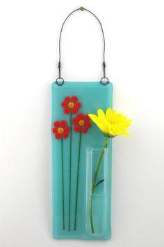 Very Cute! | Hanging Bud Vase / Fused Glass Pocket Vase | by WoodAndGlass @Etsy