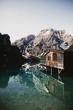 cabin on a lake