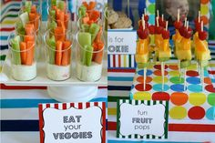 Cute way to serve veggies & fruit for kids at parties.  i've done this more than once and it's always a hit.  party food.  kids party food..  birthdays.  appetizers.  finger food.