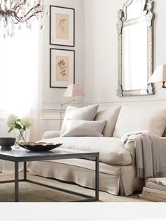 Awesome Cover On The Sofa Plus Floor Lamp In The Corner Of Living Room With Mirror Wall Mount Plus Chandelier Above Table Decor Idea: Impressive DIY Sofa Slipcover Ideas My Living Room, Home And Living, Living Area, Living Spaces, Style At Home, Restoration Hardware Sofa, Piece A Vivre, Home Fashion, Interior Inspiration