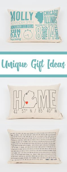Great gift ideas for everyone on your list! Everyone loves a personalized gift and we have yet to meet someone who doesn't like a pillow :)