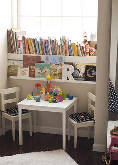 Darling reading nook underneath window. This also has list of children's books.