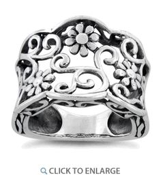 CloseoutWarehouse Sterling Silver Oval Center Beaded Sides Ring
