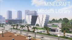 Minecraft Projects, Minecraft Stuff, Minecraft Modern City, Modern Library, Multi Story Building, Interior, Modern Bookcase, Indoor, Interiors