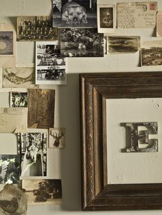 Collection of old photos, postcards, antique frame