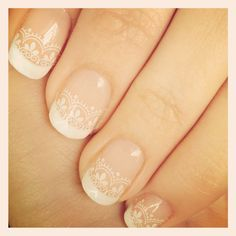Wedding nails idea, lacey pattern may match the dress