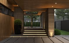 Private House Architecture Project by Bezmirno. Front Door Entrance, Entrance Decor, Entry Gates, House Entrance, Entrance Ideas, Modern Front Door, Front Door Design, Porch And Terrace, Bali