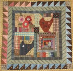 Garden Cat Maze Made for a swap. Primitive Quilts, Country Primitive, Scrappy Quilts, Baby Quilts, Quilting Blogs, Quilting Ideas, Aplique Quilts, Plaid Quilt, Country Quilts