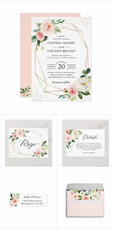 """Blush Pink Flowers with modern frame"" is one of the most popular theme for Weddings. We created amazing custom invitation designs offering a fully coordinating wedding suite for this theme from Invitations to RSVP Card, Information Card, Labels, Sign Posters, and more. Enjoy! #springwedding invitation Spring Wedding Invitations, Floral Invitation, Wedding Invitation Design, Custom Invitations, Invites, Wedding Place Cards, Wedding Rsvp, Wedding Thank You Cards, Wedding Suite"