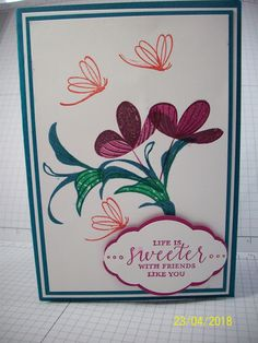 This week I have an eclectic mix of projects to show you. Today's card is made with a NEW stamp set is called . Friendship Cards, Stamping Up Cards, Making Cards, Relief Society, Creative Cards, Cool Cards, Flower Cards, So Little Time, Homemade Cards