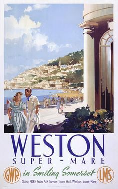 Framed Print featuring Poster produced by Great Western Railway (GWR) and London, Midland & Scottish Railway (LMS) to promote rail travel to the popular resort of Weston-super-Mare 'in smiling Somerset' British Travel, British Seaside, British Isles, Weston Super Mare, Train Posters, Railway Posters, National Railway Museum, Elegant Couple, Seaside Beach