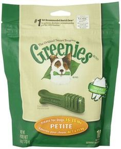 This is the chew that started it all.   Petite for small breed dogs and dogs 15-25 lbs. - 10 Bones  GREENIES® dental chews continue to be a favorite source of happiness for both dogs and owners alike.  GREENIES® dental chews now contain added natural sources of antioxidants to promote a healthy immune system, as well as natural sources of dietary fiber for digestibility.   One GREENIES® dental chew a day helps control harmful plaque and tartar build up and freshens breath.