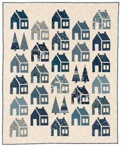 Blue Barn quilt pattern by Laundry Basket Quilts. Finished quilt size is x Houses are made using fat quarters in your favorite colors and prints. House Quilt Patterns, House Quilt Block, Quilt Blocks, Quilting Patterns, Quilting Ideas, Quilting Projects, Sewing Projects, Traditional Quilt Patterns, Quilt Block Patterns