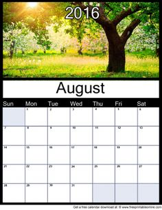 August 2016 Printable Monthly Calendar - Trial