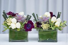 Gorgeous & modern centerpieces with purple anemones, jade, horsetail, and ti leaves.  An Aspen Branch Original. www.aspenbranch.com
