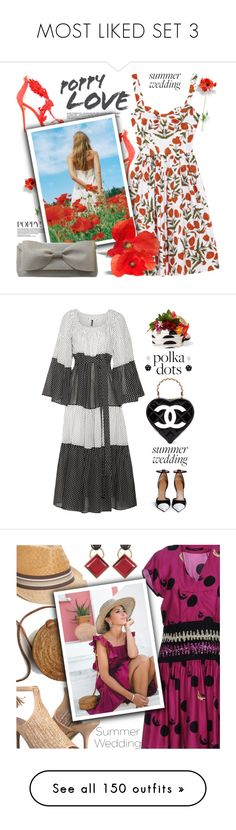 """""""MOST LIKED SET 3"""" by shoaleh-nia ❤ liked on Polyvore featuring Oscar de la Renta, Cato, Lisa Marie Fernandez, Givenchy, Chanel, Dolce&Gabbana, Marni, Paola Frani, Charles by Charles David and WithChic"""