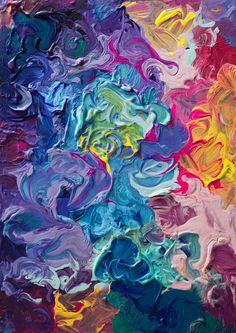 Rainbow Flow Painting Print on Wrapped Canvas Canvas Art Prints, Painting Prints, Wall Prints, Paintings, Dibujos Zentangle Art, Flow Painting, Foto Art, Art Inspo, Art Boards