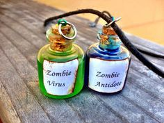 Zombie Virus and Antidote Necklace Set