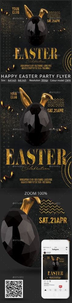 Easter #festival #3d #poster Flyer Size, Psd Flyer Templates, Easter Party, Promote Your Business, Party Flyer, Happy Easter, 3 D, Banner, Photoshop