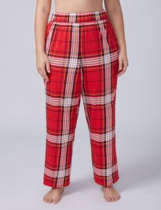 Red Plaid Knit Sleep Pant with Buttons - Long