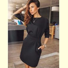 2017 Autumn Dress Women Fashion Casual Mini Dress Solid Color Short  Sleeve O-neck Women Dress Two Side Pocket Black Dresses