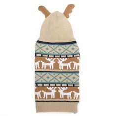 Zack and Zoey Elements Antler Dog Sweater - Taupe S576-UE975 08 25