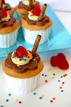 Chocolate caramel sundae cupcakes