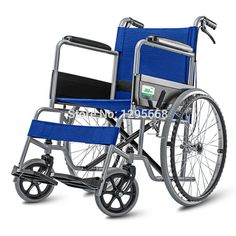 Cofoe Blue Aluminum Alloy Wheel chair lightweight  folding Self Propelled wheelchair BLUE with brake #Affiliate