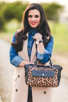 Maxi chaleco Missguided long vest total look denim zapatos tacón Zara shoes bolso leopardo Karen Millen animal print handbag Crimenes de la Moda blog