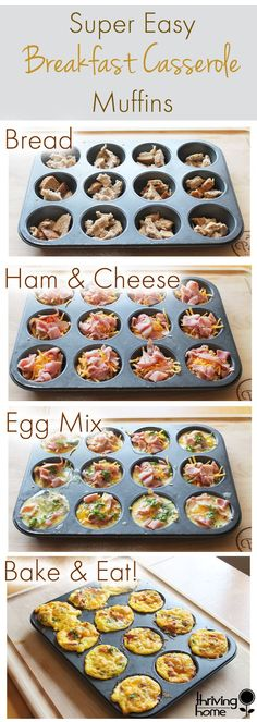 Easy breakfast casserole muffin recipe. Simple ingredients that you likely have in your kitchen can make this fabulous, freezer friendly breakfast. For sure worth a try!