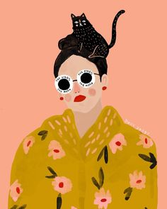 Name: Holly Jolley | From: ? | Week: 4 | Year: 2017 | Materials: Gouache | Description: - playful style but conveys this sense of glamour (character) - sparingly used white (glasses vs. leaving it blank as lines) - simplified shapes for face (triangle with two dots for nose) + circles as blush - Pattern on garment
