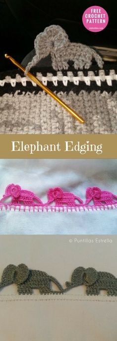 #CrochetElephant Edging Free Pattern & Tutorial #CrochetApplique Decor #Edging | size: any | Written & Video | US Terms Level: beginner yarn: any Hook: 4.0 mm Author: Puntillas Estrella