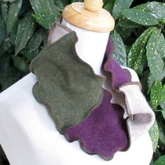 Upcycled Sweaters Infinity Scarf Neckwarmer Plum Sage Recycled Loop Scarf Circle Scarf by ThankfulRose on Etsy