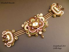 Soutache Bracelet Soutache Designer Bracelet brown by ZoojaDesign, $125.00