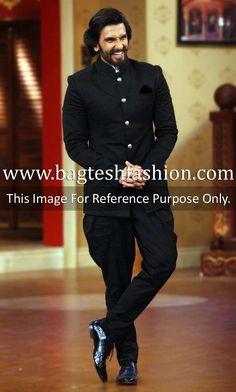 Ranveer Singh Black Jodhpuri Suit