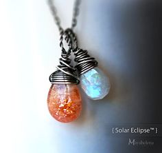 Solar Eclipse - Moonstone and Sunstone Wire Wrapped Sterling Silver Necklace on Etsy, $48.00