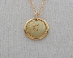 """C"" Initial Necklace Glass Enamel On 24 Karat Gold by FusedInc, $48.00 (24 colors) #jewelry #enamel #necklace"