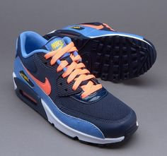 wholesale dealer f792d 3483c Nike Air Max 90 Mesh Gs Big Kids 724855-408 Chalk Blue Mango Shoes Youth