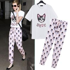3dbb504d9b2 2015 Summer European Style Women Pants set suits top tshirt Harem pants Set  Casual Cat Print women clothing set S-XL