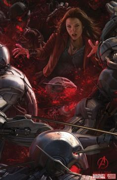 Concept art of Scarlet Witch in Marvel's Avengers: Age of Ultron by Andy Park