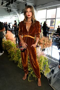Rocky Barnes wearing the velvet Sabine Jumpsuit at Ulla Johnson's SS18 Runway Show