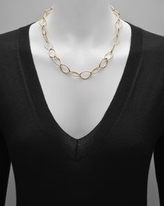 18k Gold Marquise Link Necklace with Diamond Link | Betteridge