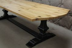 Custom-Old-Oak-Trestle-Table-with-Arched-Edge