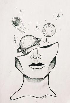 Al: Aliza👸🏼 ❥ - Bleistiftzeichnung - Art Sketches Space Drawings, Cool Art Drawings, Pencil Art Drawings, Art Drawings Sketches, Easy Drawings, Tumblr Art Drawings, Drawing Ideas, Sketch Art, Tumblr Sketches
