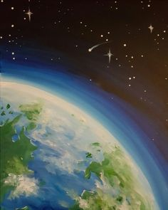 Radiant Planet Earth - Paint Nite Painting