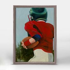"""""""Lil' Football Star 1"""" Mini Framed Canvas from Oopsy Daisy, Fine Art for Kids. Size – 5˝x7˝. Art by Kristina Bass Bailey. Rustic frame color is predetermined. Browse our entire collection of Mini Framed Canvas art for kids!"""