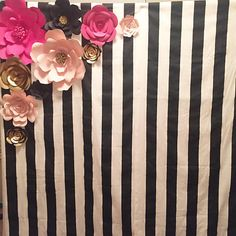 Kate Spade Inspired Theme Paper Flowers and backdrop-Set of 10