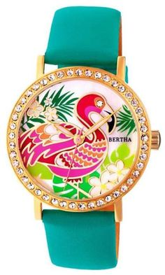 """Bertha Watches """"Luna"""" Flamingo Crystal-Accented Leather Strap Watch #ad #flamingos #watch #watches #jewelry"""